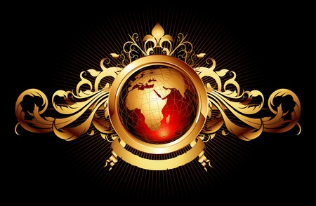 gold earth: world with ornate frame Illustration