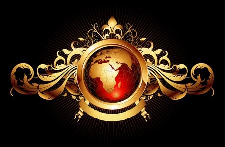 world with ornate frame Ilustrace