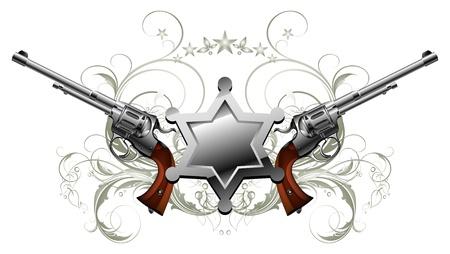 gatillo: estrella de Sheriff con pistolas Vectores