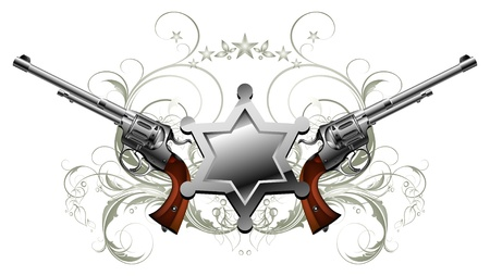 gun barrel: sheriff star with guns Illustration