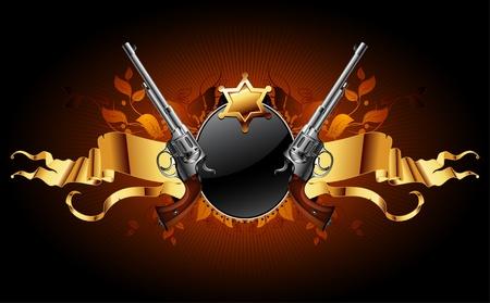 pistolas: estrella de Sheriff con pistolas Vectores