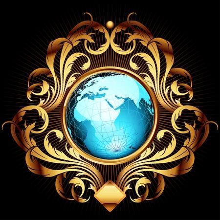 gold earth: world with ornate frame Illustration