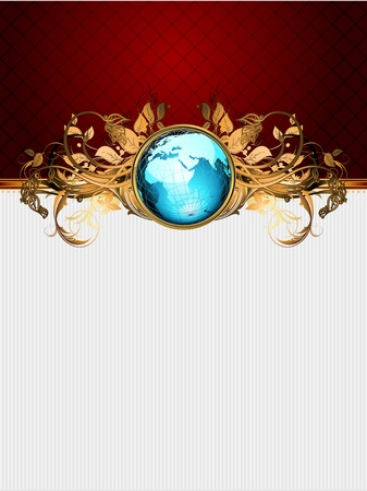 geography: world with ornate frame Illustration