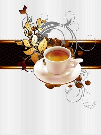chicchi caff� su sfondo bianco: tazza di caff� con elementi ornati