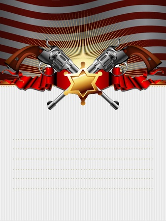 gun barrel: sheriff star with guns and usa background Illustration
