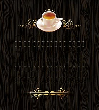 Tasse Kaffee mit reich verzierten Elementen Illustration