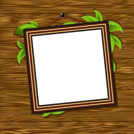 picture frame on wall: vintage baguette frame with leaves Illustration