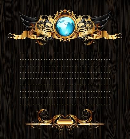 golden globe: world with ornate frame Illustration