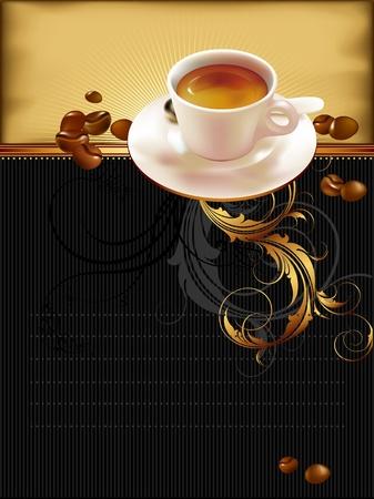 chicchi caff� su sfondo bianco: tazza di caff� con elementi di ornato