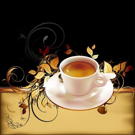 planta de cafe: taza de café con elementos recargados