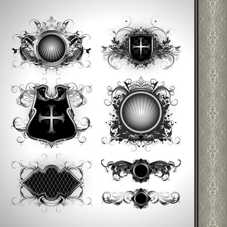 heraldic symbols: medieval heraldry shields