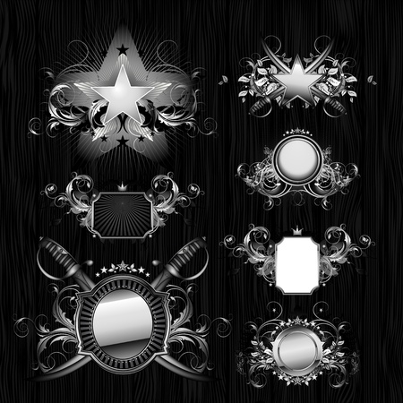 silver star: medieval heraldry shields