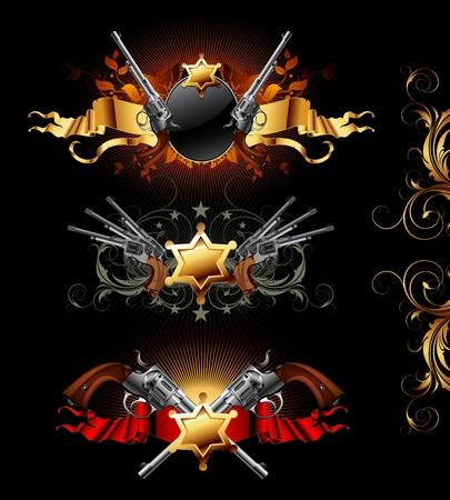 set of ornamental golden frames with guns