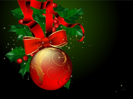 hollyberry: christmas background with bow and hollyberry