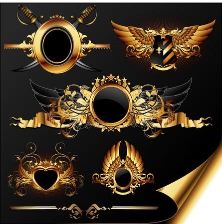 escudo militar: conjunto de elementos her�ldicos ornamentales de oro