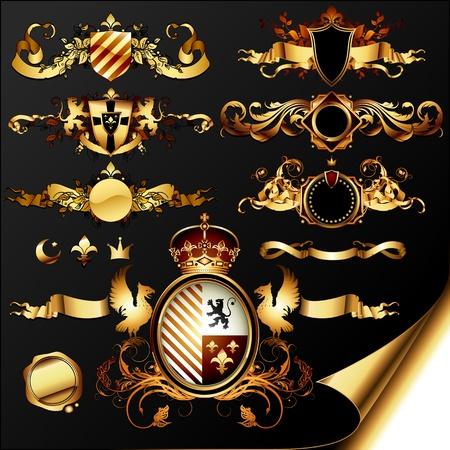 set of ornamental golden heraldic elements