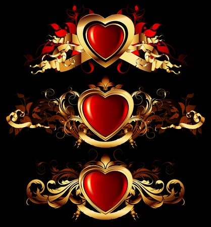 shiny hearts: heart forms with ornate elements