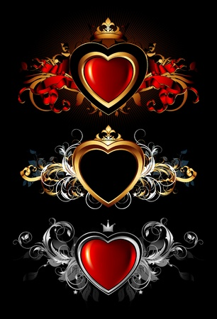shiny black: heart forms with ornate elements