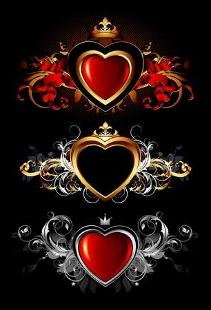 Herzen Formen mit kunstvollen Elementen