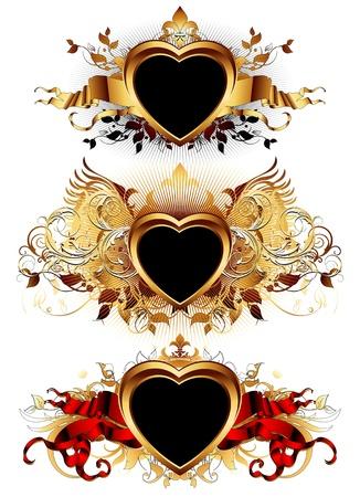 corazon con alas: formas de coraz�n con elementos ornamentales