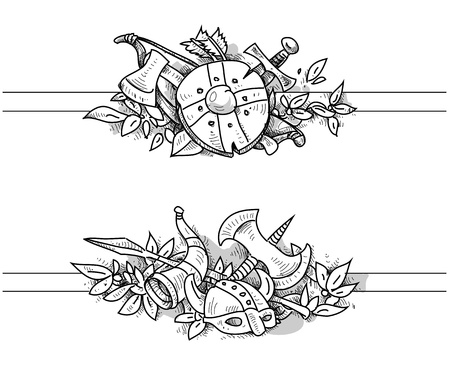 medieval drawing banners Vector