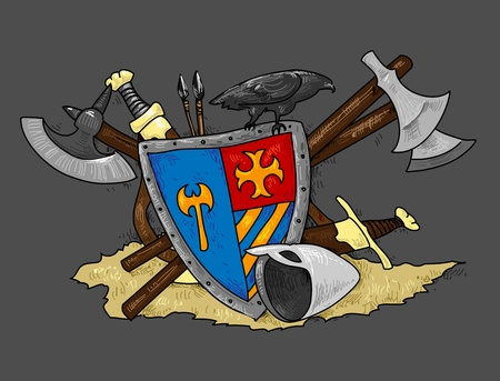 shield medieval hand drawing