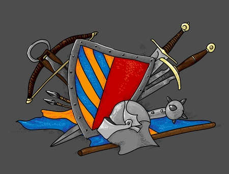 crossbow: shield medieval hand drawing