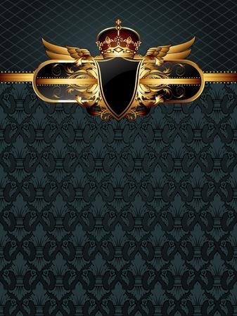 gold crown: ornate golden frame Illustration