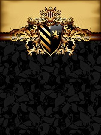 heraldry: ornate golden frame Illustration