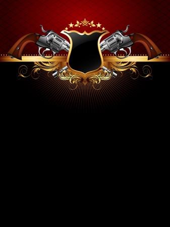 estrellas  de militares: marco adornado de oro con armas de fuego