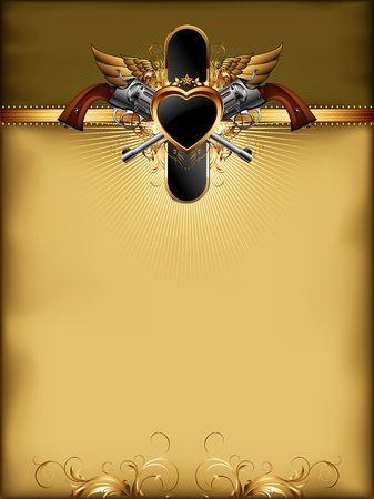 shield wings: ornate golden frame with guns