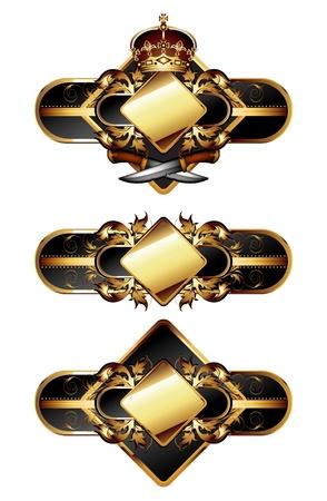 gold leafs: set of ornamental golden labels Illustration