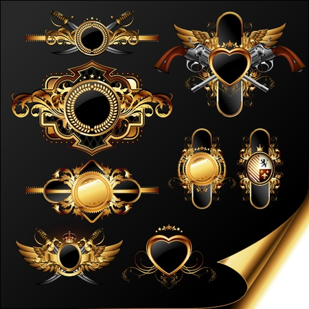 pistola: conjunto de etiquetas ornamentales de oro Vectores