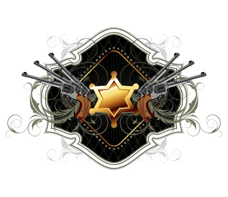 sheriff star with guns ornate frame Vector