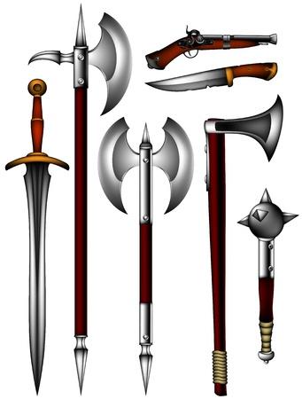 espadas medievales: un conjunto de armas antiguas