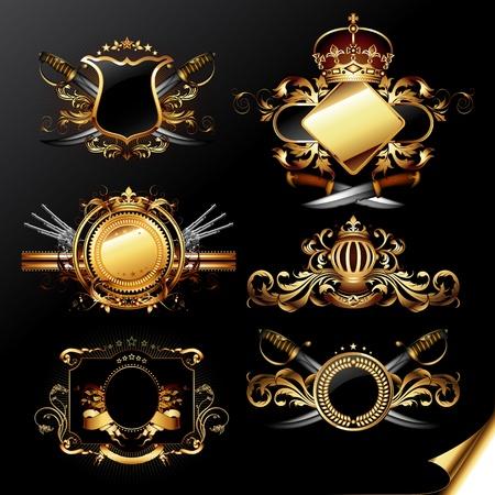 sabel: set van sier gouden labels Stock Illustratie