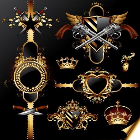 heart and crown: set of ornamental golden labels Illustration