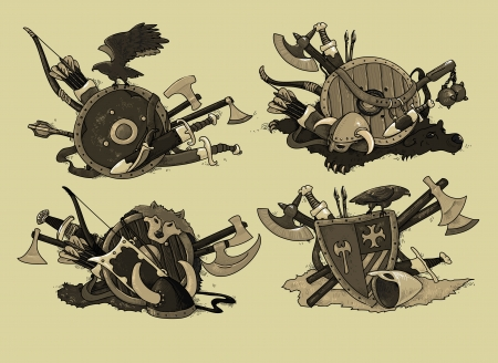 set of shields medieval hand drawing Vector