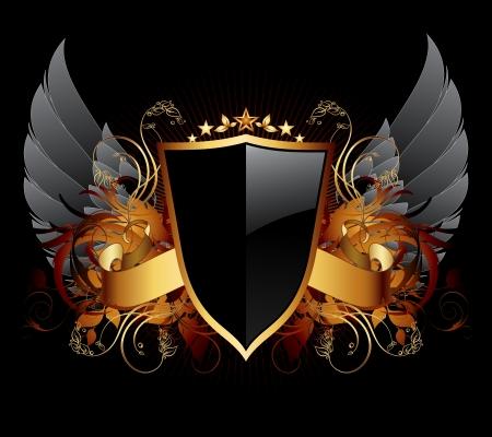 ruban noir: bouclier d'ornement