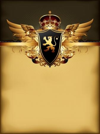 lion wings: marco de oro adornado Vectores