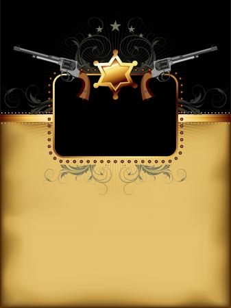 sherif: ornate frame with guns Illustration