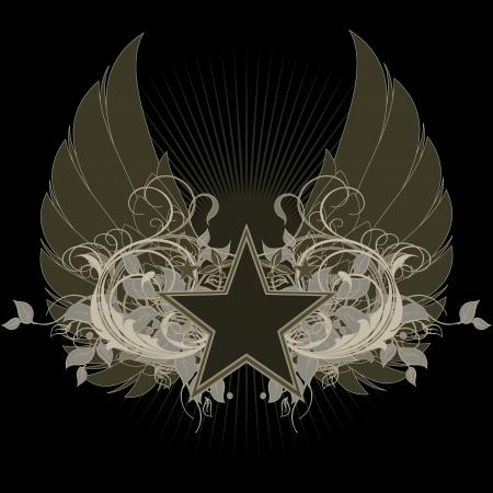 estrellas  de militares: estrella con elementos ornamentales