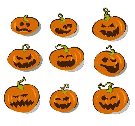 frightful: set of halloween pumpkins Illustration