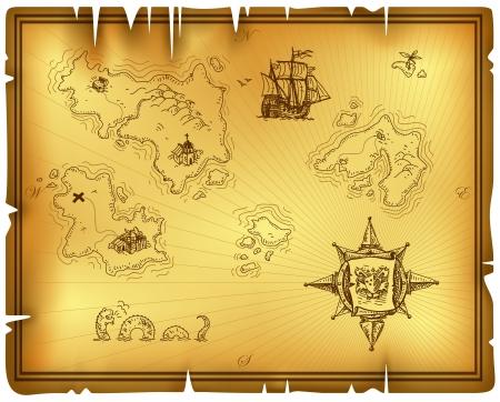 isla del tesoro: antiguo mapa