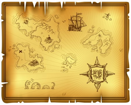 carte trésor: carte ancienne Illustration