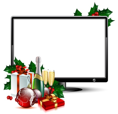 beverage display: LCD panel with christmas Illustration