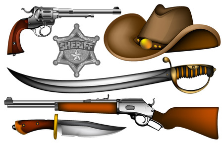 set of sheriff s weapons and accessories Stock Vector - 25995278