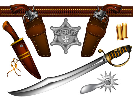 holster: set of sheriff s weapons and accessories Illustration