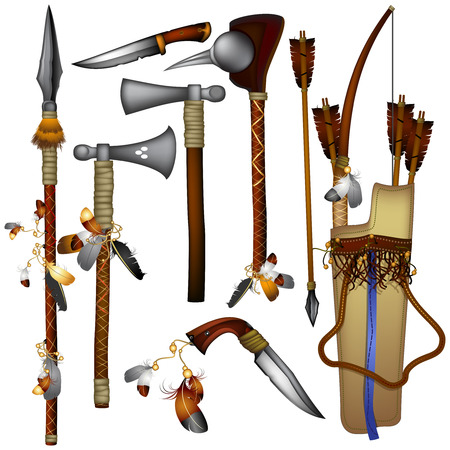 set of  weapons American Indian Illustration