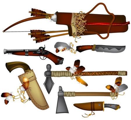 アメリカ ・ インディアンの武器のセット  イラスト・ベクター素材